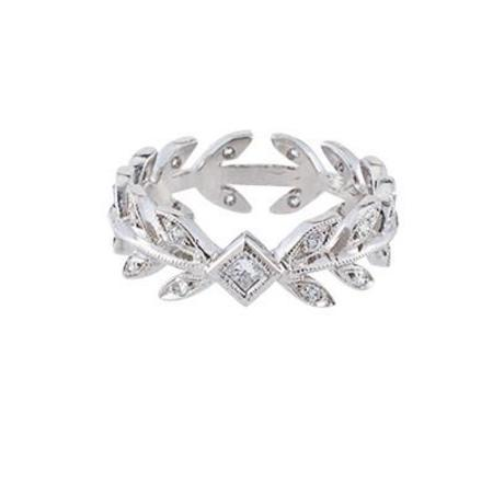 Cathy Waterman Ring, Wheat Band with Princess Cut Center Diamond