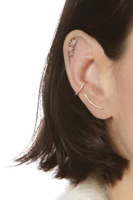 Gabriela Artigas Pave Mini Thin Staple Earrings