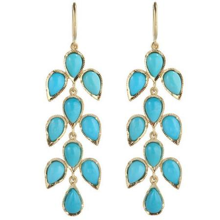 Irene Neuwirth Earrings - Turquoise Leaf Motif