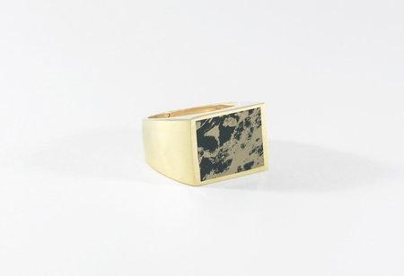 Legier Black & Gold Pyrite Stone Signet Ring