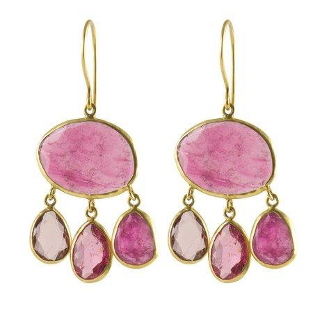 Pippa Small Earrings - Urchin in Pink Tourmaline & 18k Gold