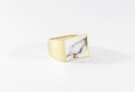 Legier White Turquoise Stone Signet Ring