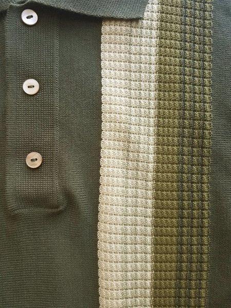 David Hart Olive Tonal Stripe Polo Sweater