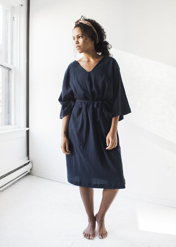 Sunja Link - Patch Pocket Dress in Navy Crinkle