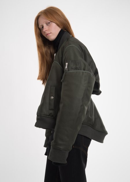 Helmut Lang Green Four Sleeved Bomber Jacket