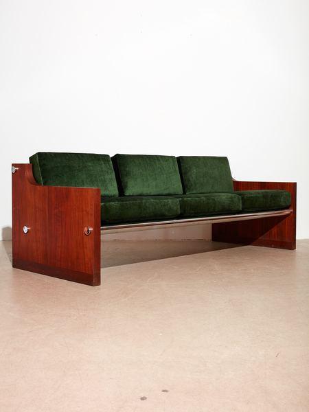 Coming Soon Rosewood and Chrome Tube Sofa