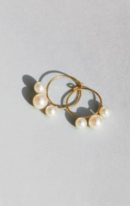 Saskia Diez 3 Pearls Hoops - Rose gold