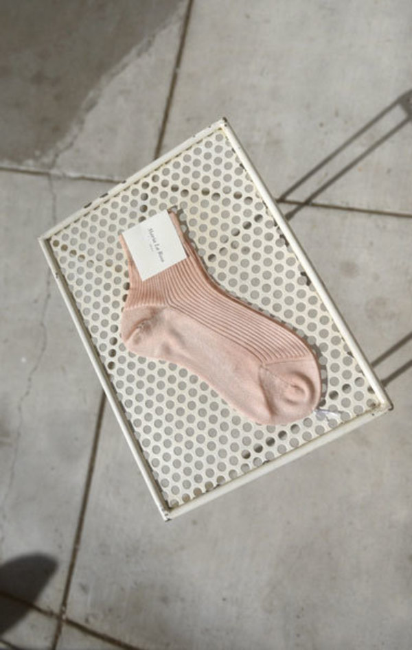 Maria La Rosa Ribbed Silk Sock - Powder