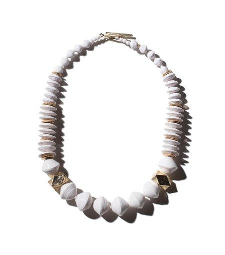 Akola Nile White Geometric Necklace