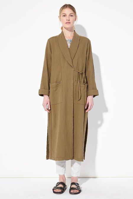 Raquel Allegra Army Textured Gauze Robe Trench