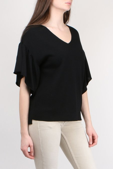 Allude Flutter Sleeve V Neck Sweater