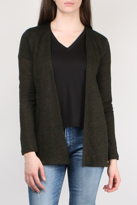 Allude Linen Open Cardi - Forest Green