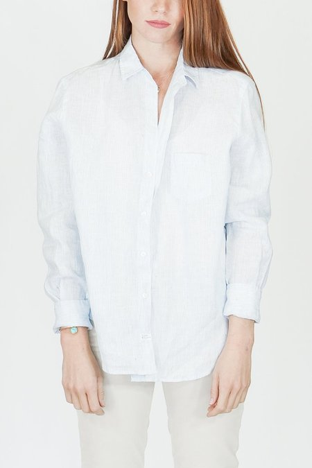 """Frank & Eileen """"Eileen"""" Thin Blue Stripe Linen Button Down Shirt"""