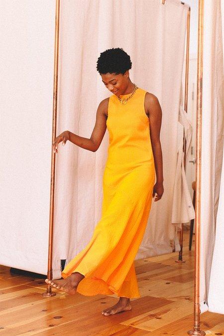 Wilkie Seersucker Dress - Turmeric Orange