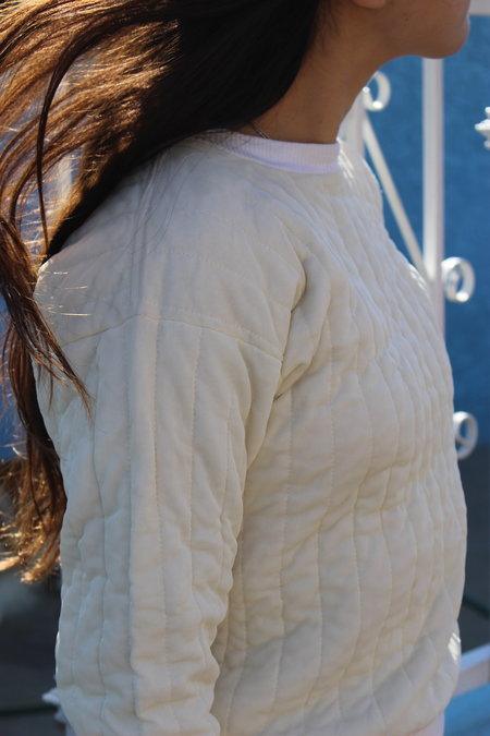 le Market Vintage Quilted Pullover - Ivory Silk
