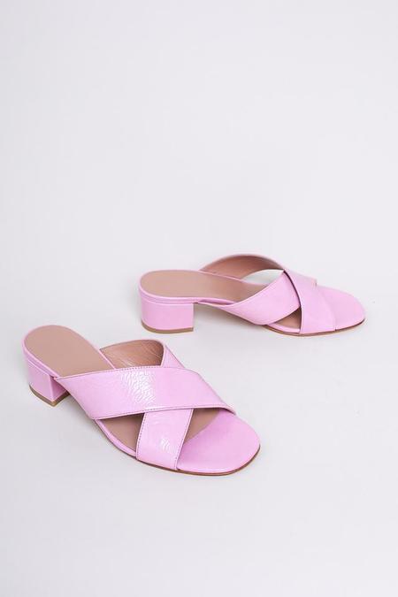 Maryam Nassir Zadeh Lauren Patent Slide in Pink Crinkle