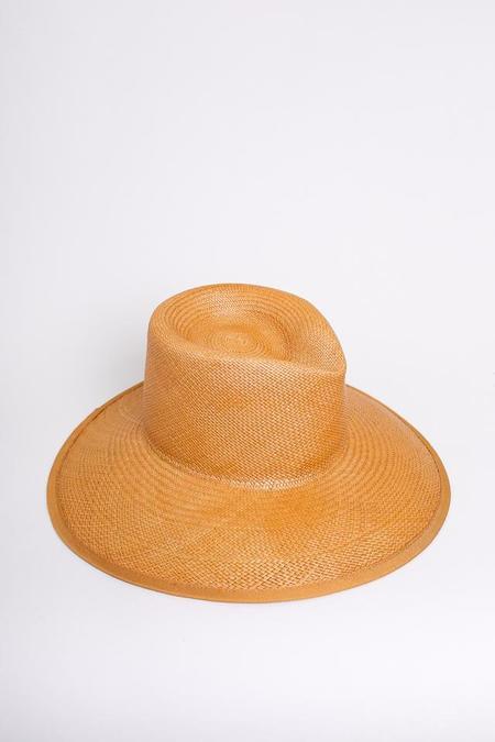 Clyde Pinch Panama Hat in Ochre