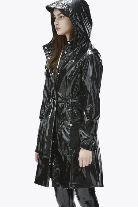Rains Glossy Curve Jacket - Black