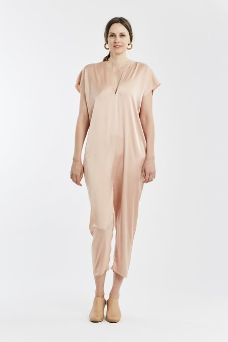 Miranda Bennett Extended Everyday Jumpsuit Silk Charmeuse in Bardot