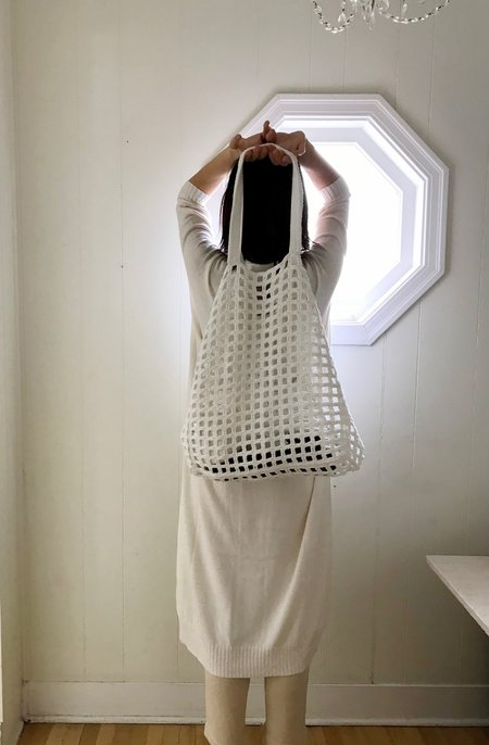 Lauren Manoogian Crochet Net Bag in Optic White