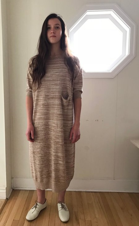 Lauren Manoogian Big Crewneck Dress in Bisque + Crudo