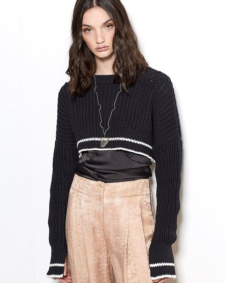 Maria Dora Jersey Yarn Long Sleeve Crop Top