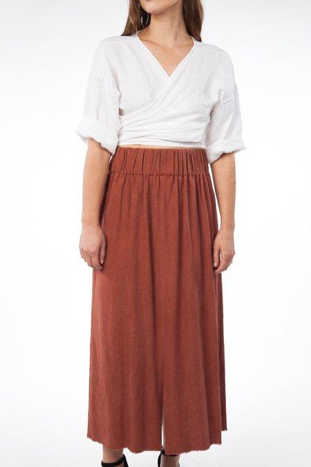 Miranda Bennett Paper Bag Skirt Silk Noil in Terracotta