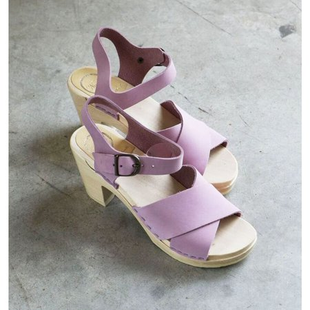 No. 6 Coco Cross Front High Heel Clog in Violet on a White Base