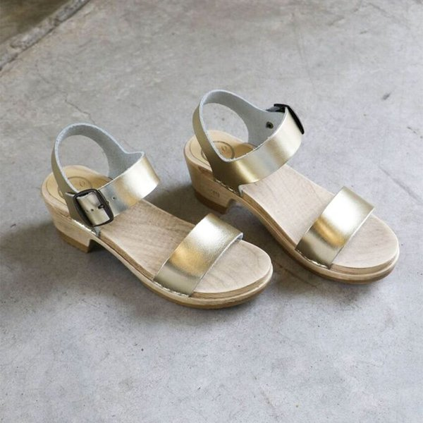 No. 6 Two Strap Mid Heel Clog in Gold