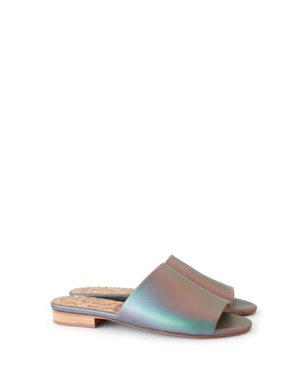 Sydney Brown Flat Slide Matte Iridescent