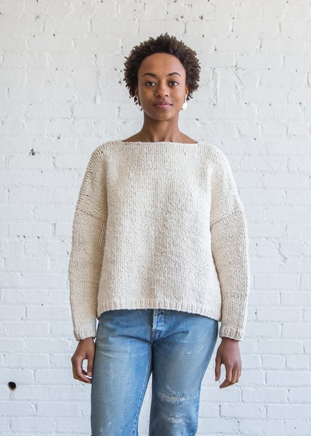 Lauren Manoogian Hardknit Box Pullover Pearl White