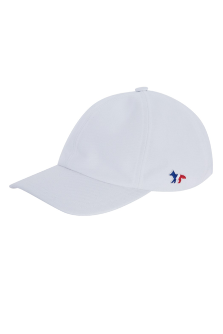 cb35066f3c1 Maison Kitsune Tri Color Fox Patch 6 Panel Cap - White