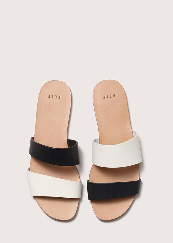 Women's Asymmetrical Sandal - Black/White