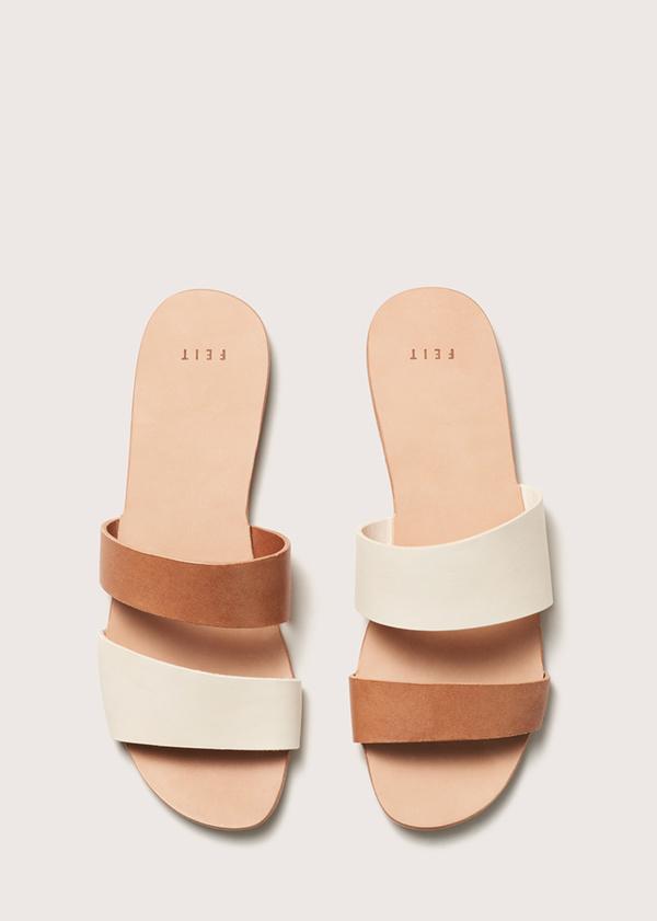 Women's Asymmetrical Sandal - Seed/Tan