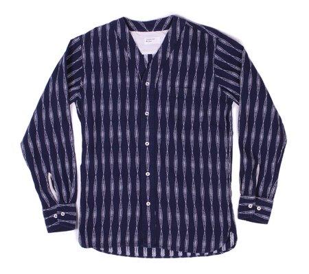 Universal Works V Neck Shirt - Navy Congo Stripe