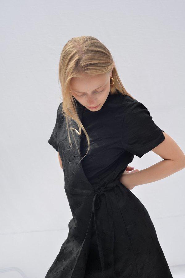 Nikki Chasin LEDA WRAP DRESS - BLACK TONAL EMBROIDERY