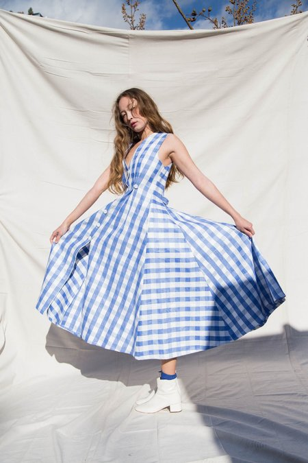 Nikki Chasin SLEEVELESS BARONESS DRESS - BLUE CHECK