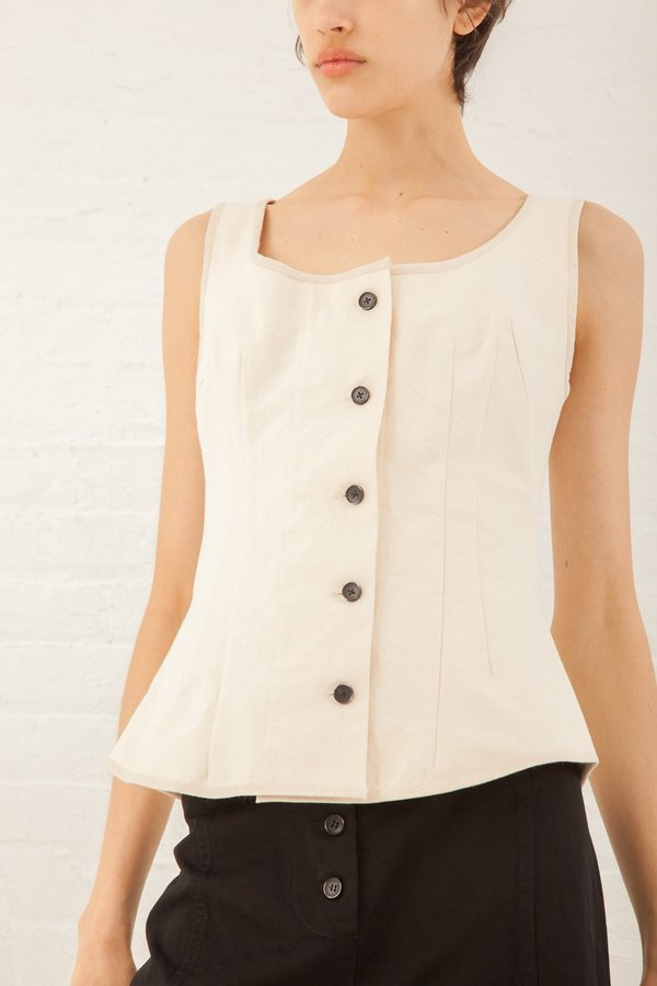 Caron Callahan Ines Vest in Cotton Canvas