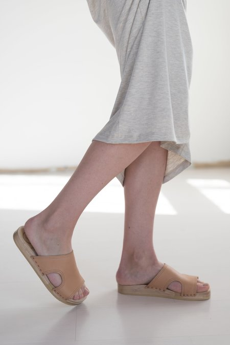 No.6 Alexis Cut Out Flat Slide Clogs in Naked