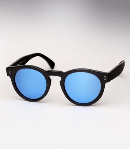 Illesteva Leonard Black Matte Blue Lens