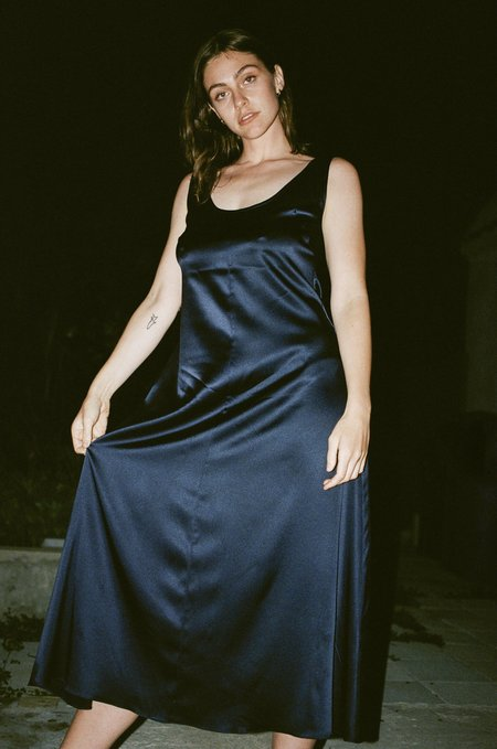Suzanne Rae Long Tank Dress in Navy Stretch Charmeuse