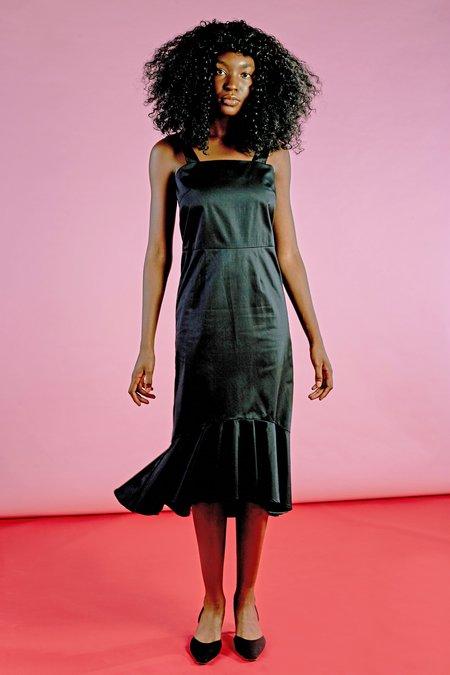 Wolcott : Takemoto Flo Dress in Black Combed Cotton