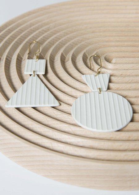 Sara Lanzi Porcelain Geometric Earrings - white