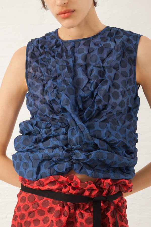 Hache Polka Dot Sleeveless Top - Blue/Black
