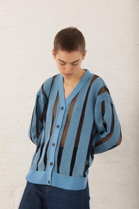 A Détacher Calvin Cardigan Stripe Mesh Knit in Sky/Black