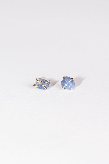 Melissa Joy Manning Limited Edition 14K Yellow Gold Blue Burmese Gem Corundum Earrings