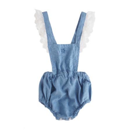 Kids Tocoto Vintage Blue Lace Romper