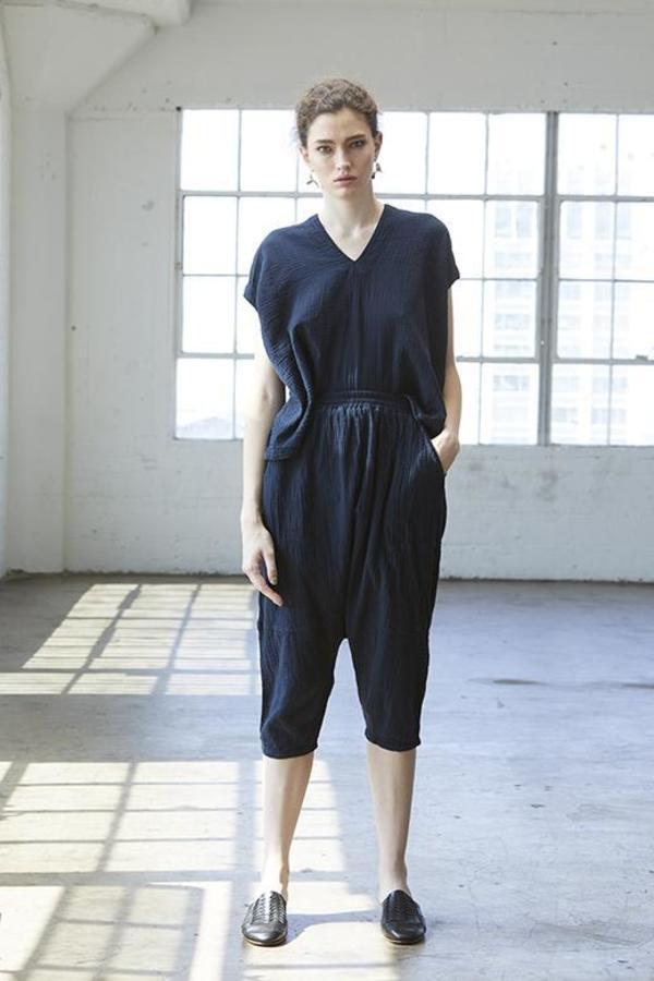 Atelier Delphine Kiko Pant - Darkest Navy Wrinkled Cotton