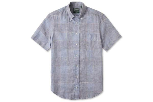 Gitman Vintage Blue Linen - Grid Check