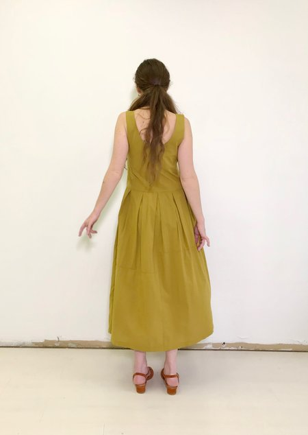 Black Crane Patched Dress in Mustard